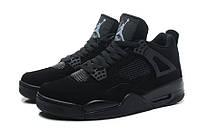 Мужские баскетбольные кроссовки Nike Air Jordan IV Retro Black (найк аир джордан) черные