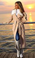 Пальто на подкладке, с поясом   тёплая осень