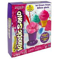 Набор песка для детского творчества KINETIC SAND ICE CREAM розовый, формочки, 283 г (71417-1)