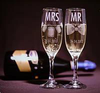 Свадебные бокалы, лазерная гравировка | модель 12