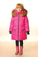 Зимнее пальто с меховой опушкой для девочек