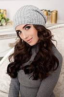 Женская вязаная шапка-колпак 9034 светло-серый меланж