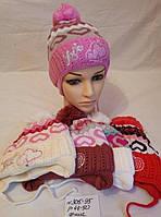 Детская шапка для девочки на флисе Love р. 48-50