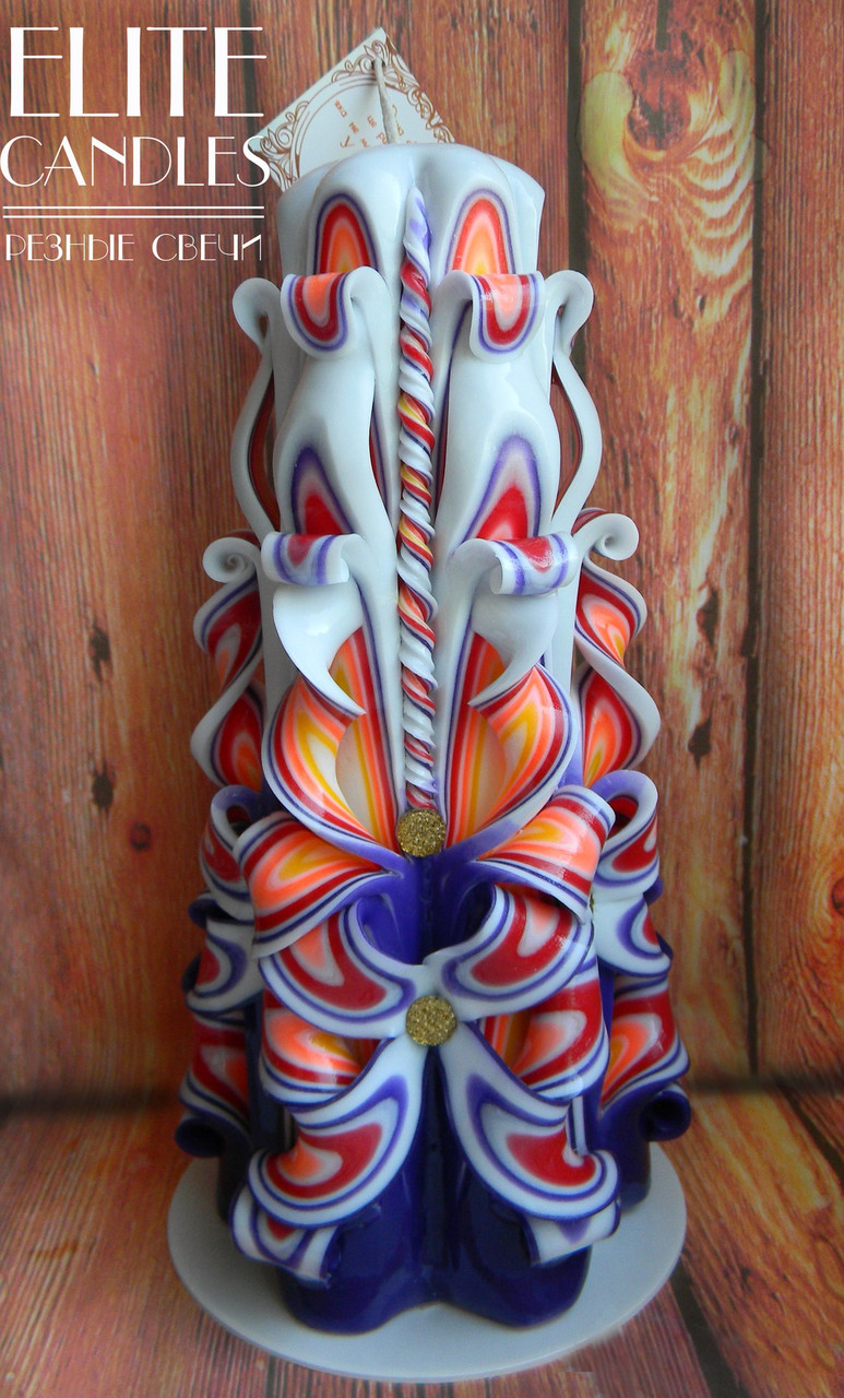 Резная свеча №3002 (Разноцветная) 22 см высотой