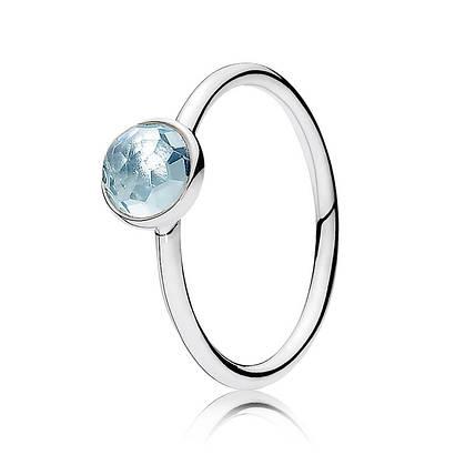 Кольцо март голубой кристалл