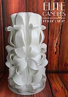 Резная Свеча имеет 8 граней №3005 (Белая) 17 см высотой