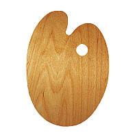 Палитра деревянная, овальная, эргономичная, промасленная, 20*30см, ROSA