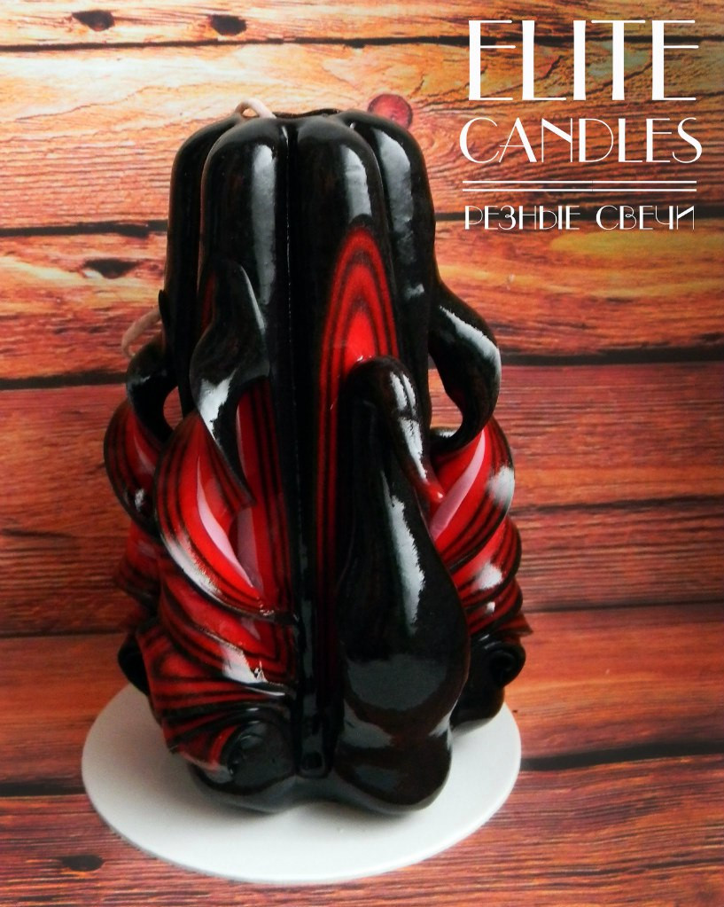 """Свеча ручной работы """"Черный лебедь"""" №3006 (Черно-красная) 12 см высотой"""