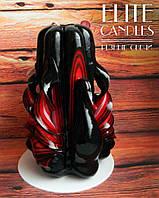 """Свічка ручної роботи """"Чорний лебідь"""" №3006 (Чорно-червона) 12 см заввишки"""