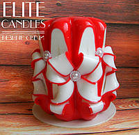 Резная свеча Красная, 8 граней, №3008, 10 см высотой