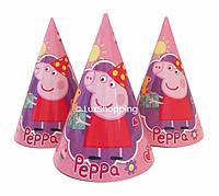 """Колпаки праздничные """"Свинка Пеппа, розовая, 10 шт."""