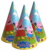 """Колпаки праздничные """"Свинка Пеппа, голубая, 10 шт."""