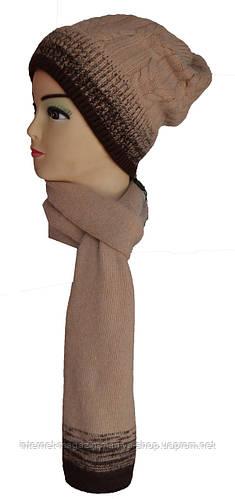 Шапка и шарф комплект на флисе женский