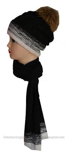Шапка и шарф комплект на флисе с балабоном женский