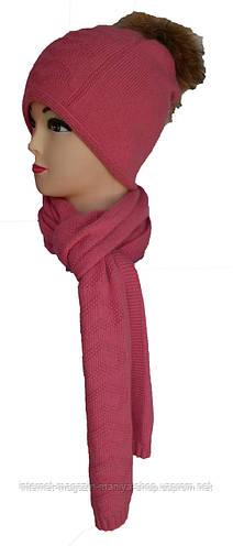 Шапка и шарф комплект двойная вязка с балабоном женский