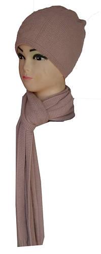 Шапка и шарф комплект двойная вязка женский
