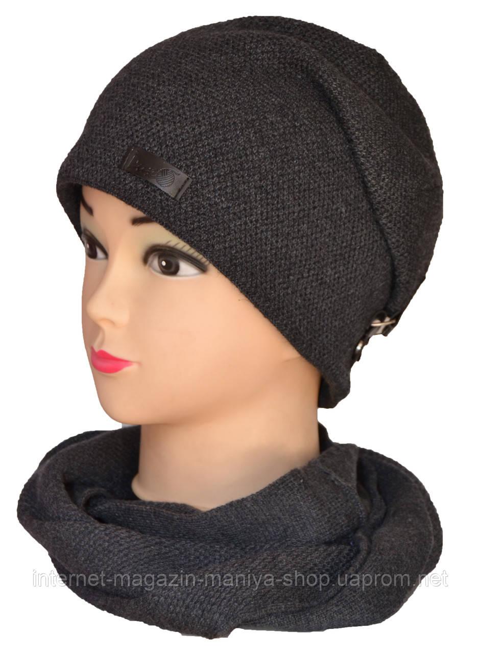 Шапка и шарф-хомут комплект на флисе женская