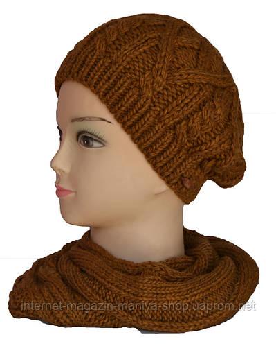 Шапка и шарф-хомут комплект двойная вязка женская