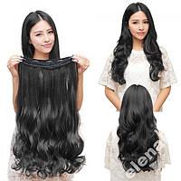 Волосы на заколках затылочная прядь волна №1 50см