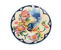 """Тарелка декоративная керамическая 21 см. """"Птичка и цветы"""" разноцветная"""