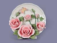 """Панно фарфоровое круглое в форме тарелки 20х13х20 см. """"Розы"""""""