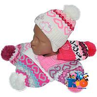 Детская вязаная шапочка арт.0305 , на флисе , для девочек (р-р 48-50)