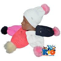 Детская вязаная шапочка арт.0632 , на флисе , для девочек (р-р 50-52)
