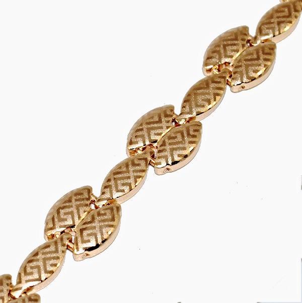 Браслет ХР с узором, цвет - позолота . Длинна  21 см. Ширина 10 мм