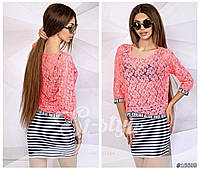 Женская летняя гипюровая блуза