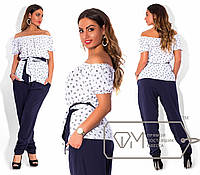 Костюм батал: блузка морского принта и штаны Код:323253951