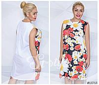 Летнее трикотаное платье батал цветочного принта Код:327113640