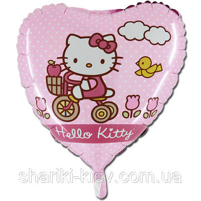 Гелевый шарик Китти розовый горошек на День рождения