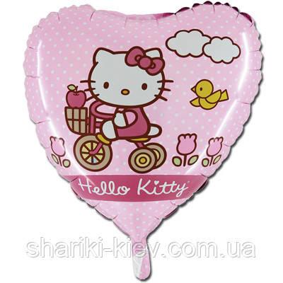 Гелевый шарик Китти розовый горошек на День рождения, фото 2