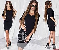 Женское черное платье-футляр со стразами