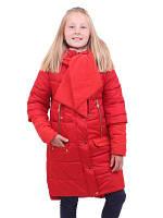 Зимнее пальто для девочки с оригинальным шарфом.