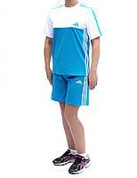 Летний спортивный костюм женский - футболка и шорты - Три полоски - легкий стрейч-эластан
