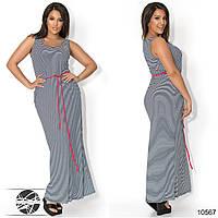 Стильное платье-майка с округлым вырезом на груди, декорированное металлической брошкой. Код:309238777