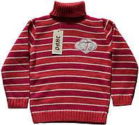 Свитер под горло, для девочки, шерстяной, темно-розовый в малиновую и белую полоску, рост 98/104, ТМ Дайс