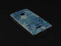 Чехол Diamond TPU для Microsoft Lumia 435 Nokia синий принт