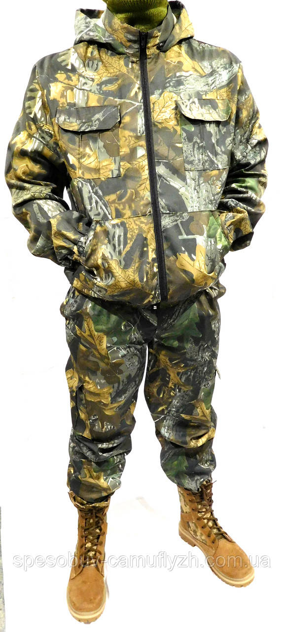 Костюм Камуфляж Дубок світлий ліс Полювання Риболовля, з капюшоном - 48,50,52,54,56