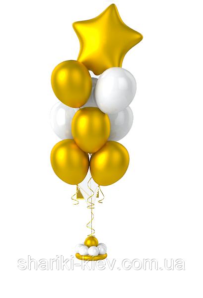 Фонтан из гелевых шаров золото с белым.