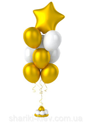 Фонтан из гелевых шаров золото с белым., фото 2