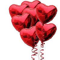 Связка Шариков с гелием Сердца красные фольгированные 7 штук