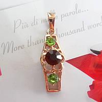 Кулон подвеска с цветком и темно красным камнем позолота 18к