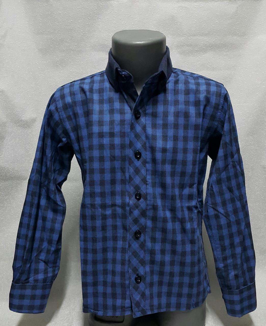 Рубашка кашемировая на мальчиков в клетку Синяя 116,122,128,134 роста