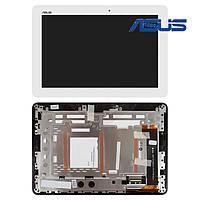 Дисплейный модуль (дисплей + сенсор) для Asus MeMO Pad 10 ME102A, с рамкой, белый, оригинал