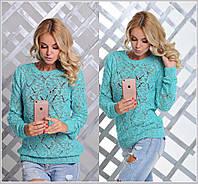 Красивый женский свитер ажурная вязка