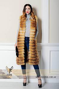 Длинная меховая жилетка из лисы