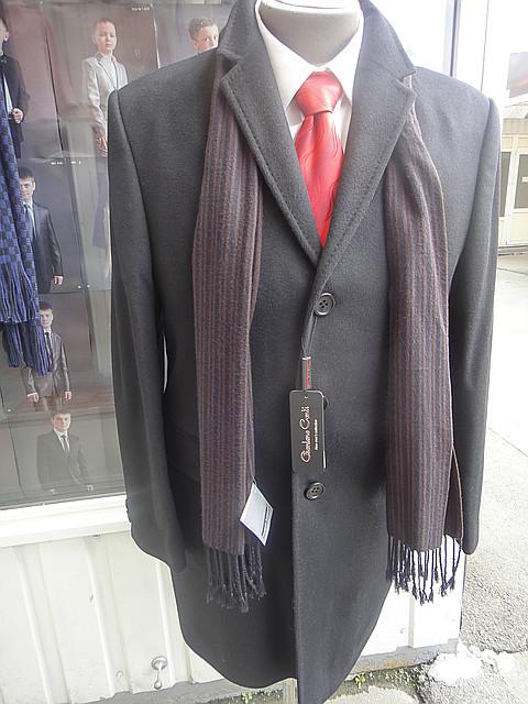 """Пальто мужское кашемировое """"Giordano Conti"""" лама серое Р-10"""