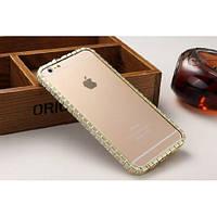 Чехол - бампер с застежкой стразы BVLGARI для iPhone 6 цвет золото